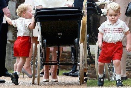 Podívejte se, jak se bavil malý George na křtinách své sestry! No není on roztomilý?!