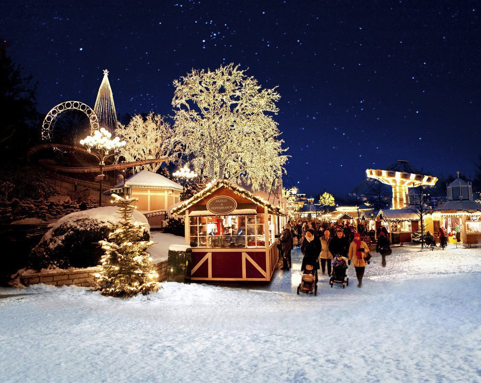 Vánoční trhy v zábavním parku Liseberg - Göteborg, Švédsko