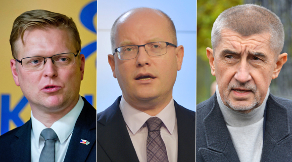 Pavel Bělobrádek, Bohuslav Sobotka a Andrej Babiš