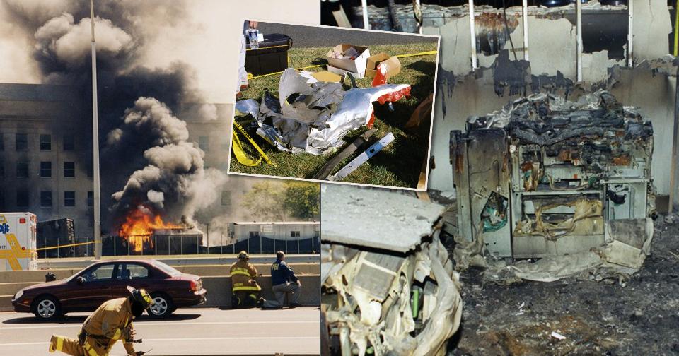 Snímky FBI zachycující vyšetřování teroristického útoku na Pentagon z 11. září 2001.