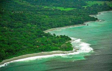 Vidíte ty malé domečky vlevo nahoře? To je luxusní eko resort v pralese na Kostarice.