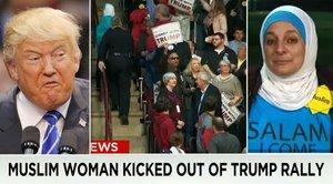 """Zahalená muslimka """"přišla v míru"""" na Trumpův mítink, vyvedli ji"""