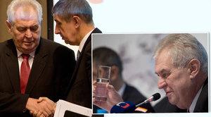 Babiš doufá v lepší vztahy s Ruskem. Zeman mával poloprázdnou sklenicí