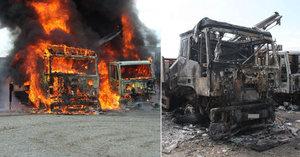 Náklaďáky zachvátil požár jen kousek od benzinky: Škoda za tři miliony!