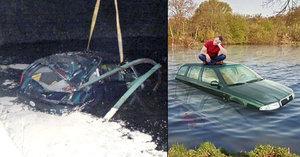 Opilec (24) sjel do rybníka v Šestajovicích, musel se vyškrábat na střechu auta