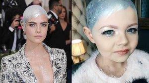 Osmiletá Brooklyn s rakovinou napodobuje Caru Delevingne potom, co jí vypadaly vlasy