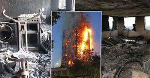 Obraz zkázy: Uvnitř londýnského věžáku je vše na uhel, policie zveřejnila fotky