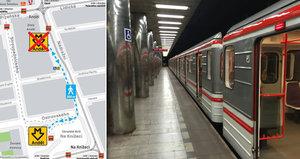 Do stanice Anděl se lidé od pondělí dostanou jen přes Knížecí. Vstup se otevře zase v červnu