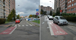 Vtip bývalé radnice? V Bohnicích mají nejkratší cyklopruh. Má jen pět metrů!