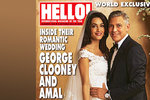 První svatební fotky ze svatby George Clooneyho ukazují pár v zamilvoaném rozmaru.