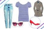 Jedno pruhované tričko 10krát jinak: Se šortkami, džínami i pouzdrovou sukní!