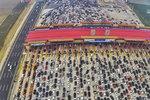 Dopravní kolaps v čínském Pekingu.