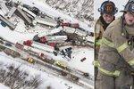 Krutá zima v USA si vyžádala následky v podobě hromadné nehody 70 vozů.