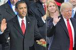 Srovnejte inauguraci Trumpa a Obamy: Méně lidí, více biblí, stejná kravata
