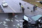 """Na dálnici """"pršely"""" peníze z hazardu. Policie ji uzavřela a začala sbírat"""