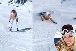 """Perkausová """"hubou"""" dolů ze svahu: Takhle se moderátorka učila na snowboardu"""