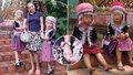 Roztomilé holčičky u thajského chrámu ukradly turistce hodinky.