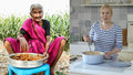 """Indická """"Dita P."""" vaří na ohni u pole. Její kuchařskou show sledují miliony"""