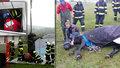 Kůň na Brněnsku spadl do úzké šachty u bazénu: Vytahovali ho jeřábem