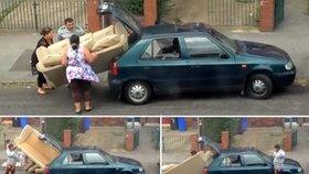 Jak narvat gauč do felicie? Rodinka Patů a Matů vám to předvede