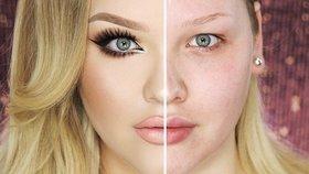 Co dokáže make-up: Proč si ženy malují jen půlku obličeje?