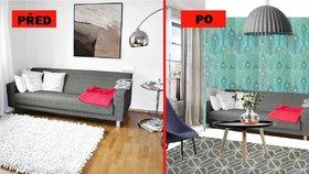 Proměna obýváku: Výrazná tapeta, teplé barvy a dřevo pokoj změnily k nepoznání