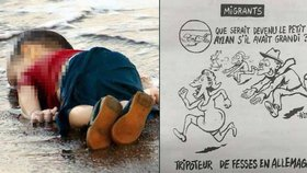 Charlie Hebdo natvrdo. Z utonulého Ajlana udělali osahávače zadků