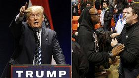 Hromadná rvačka kvůli Trumpovi. A policista dostal lahví přes hlavu