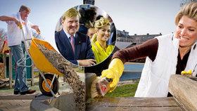Nizozemský král s královnou na brigádě: Neflákám to, Veličenstvo!