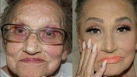 Vnučka nalíčila babičku a změnila ji k nepoznání! Jak se vám líbí?