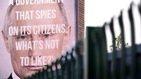 """Kampaň proti šmírování občanů: Brity straší na plakátech """"bubákem"""" Putinem"""