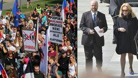 Havlová, sudetští Němci a uprchlická demonstrace: Otec vlasti oslavil 700 let