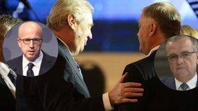 """Zeman na """"kágébácké"""" konferenci: Snad mu vláda nedá letadlo, hrozí se Kalousek"""