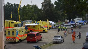 Výstaviště praskalo ve švech: Záchranáři, policisté i hasiči vyndali techniku