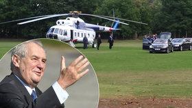 Zeman přiletěl do Brna vrtulníkem. Kritizoval povaleče i zelené šílenství