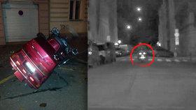 Zfetovaný motorkář v Praze: Ujížděl policistům, pak utíkal, nakonec upadl a rozbil hlavou auto