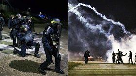 Uprchlíci v Calais vytáhli lahve a kameny. Policisté zase  kouřové granáty
