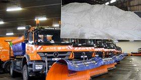 Praha je na zimu připravená: Na úklid sněhu a ledu má sypače, 860 lidí a 20 tisíc tun soli