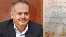 Kristínka (10) napsala prezidentovi vřelý dopis. Kiska ji zve s třídou do paláce