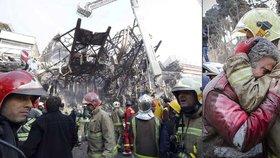 V Íránu se zřítil věžák. Svědci popisují peklo, televize hlásí až 30 mrtvých