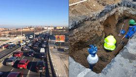 Nekončící kolony na pražské magistrále: Do úterý pojedou auta jen dvěma pruhy