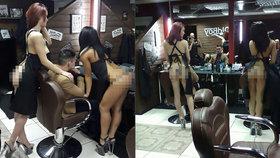 Tohle kadeřnictví je snem každého muže: Zákazníky stříhají nahé krásky!