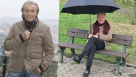 """Švihák Karel Gott venku v dešti: V mokasínech a brýlích """"lapá"""" nápady na lavičce!"""