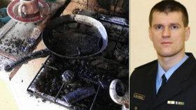 Požár oběda v Sokolově: Policista vynesl z hořícího bytu nemluvně