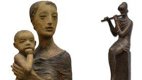 Sochy z kamene, kovu i keramiky. V Galerii 9 vystavují díla Michala Moravce