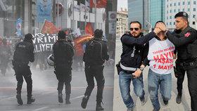 Slzný plyn a zatýkání. Turci tvrdě potlačili prvomájovou demonstraci