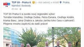 """Na Facebooku TOP 09 zaměnili fotky: """"Byl to kanadský žertík,"""" řekl starosta Prahy 6"""