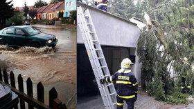 Rozbouřená jižní Morava: Obří laguny, voda ve sklepech, popadané stromy