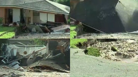Dva domy se na Floridě propadly do země. Pohltila je jáma jako plavecký bazén