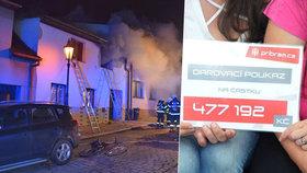 V tragickém požáru přišli o syna i dům: Z charitativní sbírky si převzali půl milionu